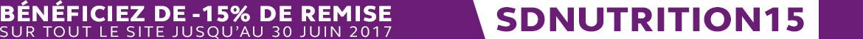 -15% sur tout le site jusqu'au 30 juin 2017 - Code Promo : SDNUTRITION15