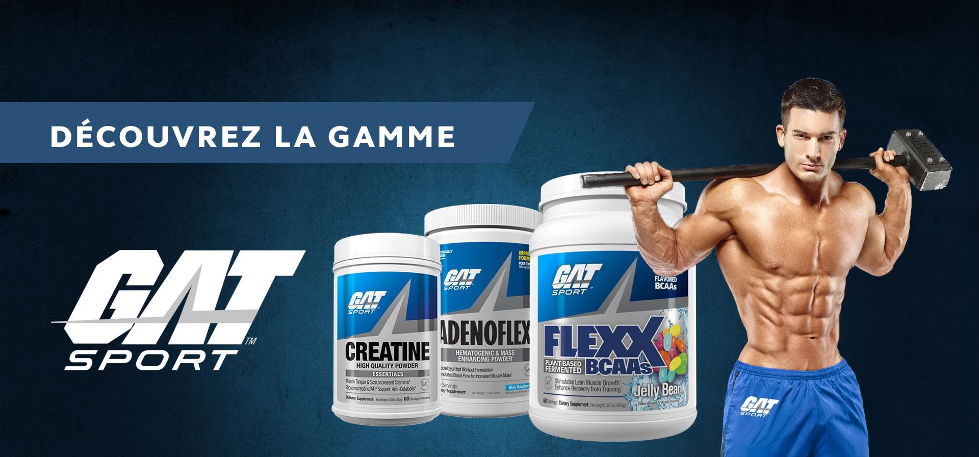 Produits de nutrition sportive de la marque GAT Sport