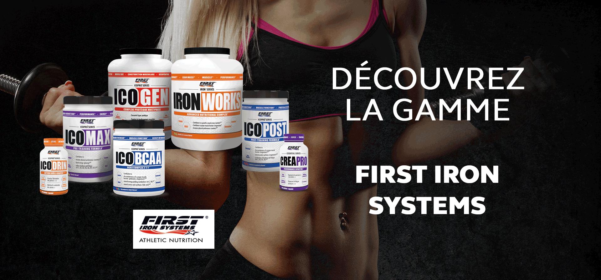Découvrez notre gamme exclusive de produits de nutrition sportive First Iron Systems